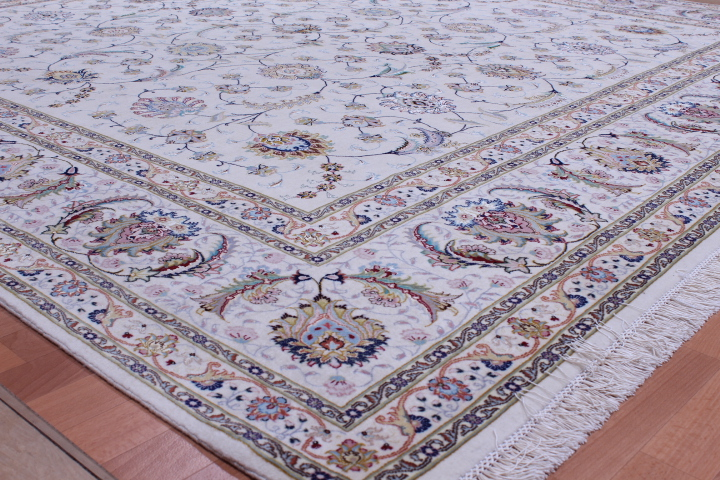 Square Silk Foundation Faraji Tabriz Persian rug. 400 KPSI Tabriz Persian carpet.