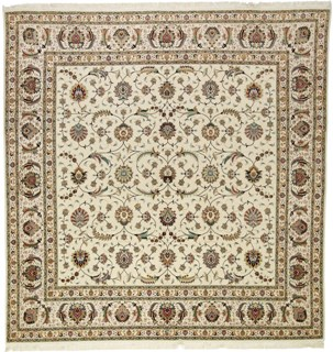 Square 55 Raj Faraji Tabriz Persian rug with a silk foundation. 10x10 silk Faraji Tabriz Persian carpet