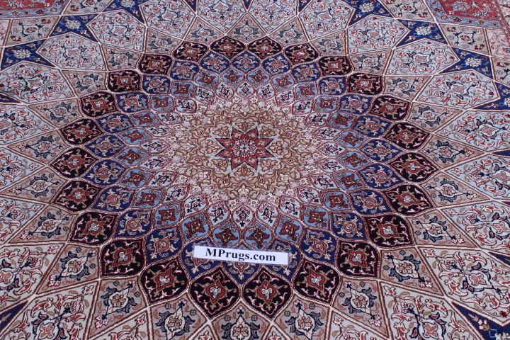 5x7 Gonbad Tabriz Persian rug. Dome Design Gombad Tabriz Persian carpet.