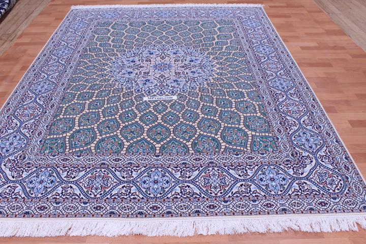 8x6 Nain Persian rug with a Gonbad design and ~500 KPSI