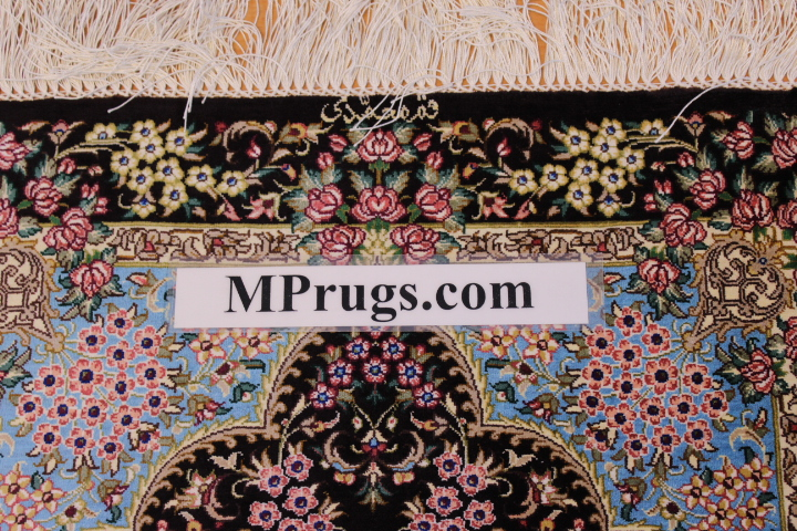 3x2 900 kpsi qum Persian rug, signed qom carpet