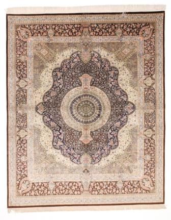 8x6 brown Qom silk Persian rugs. Pure Silk Qum Persian carpet with over 900KPSI
