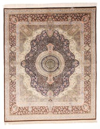 8x6 brown Qom silk Persian rugs. Pure Silk Qum Persian carpet with over 900KPSI
