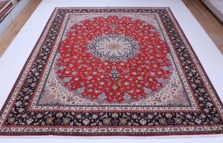 10x13 Tabriz Persian rug with a silk. 13x10 50 raj 350kpsi Tabriz Persian carpet