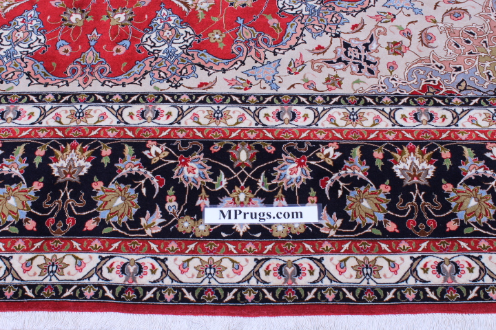 50 Raj Tabriz Persian rug with a rusty red and blue color. High Quality Tabriz Persian carpet with silk.