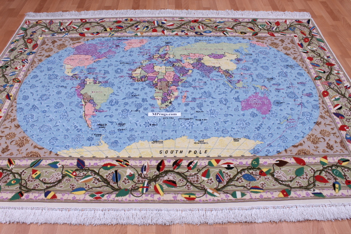 Tabriz pictorial Persian rug world map