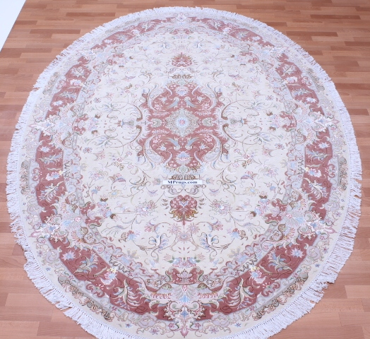 55 Raj Oval Tabriz Persian rug made by behnam. Beige oval Tabriz Persian carpet.