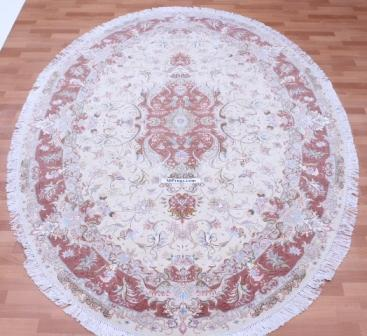 55 Raj Oval silk Tabriz Persian rug made by behnami. Beige oval Tabriz Persian carpet.