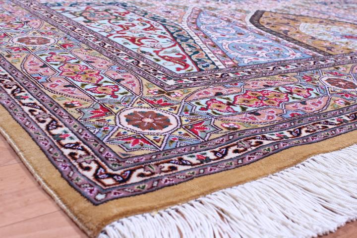 Pure Silk Tabriz Gonbad Persian rug made by Jafari