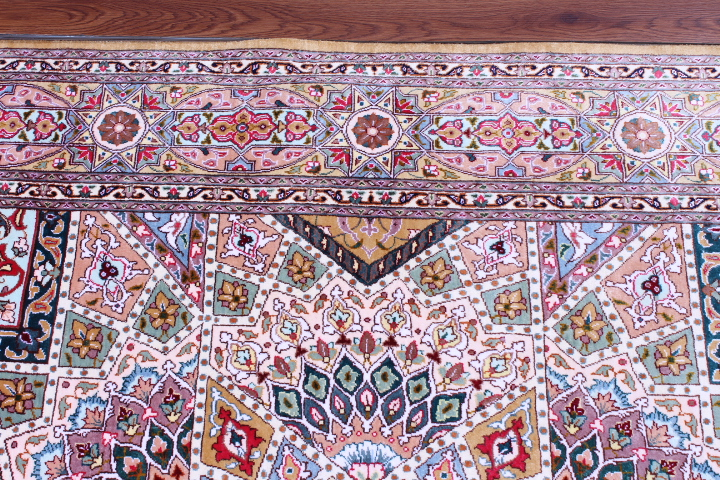Pure Silk Tabriz Gonbad Persian rug made by Jafari