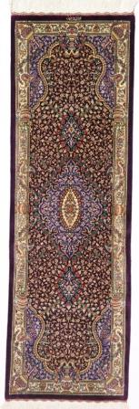 5' silk qom Persian rug runners red gold; pure silk Qum Persian carpet runners. Genuine pure silk qom Persian rug runner