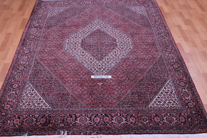 8x6 8x6 350 KPSI Bidjar Persian rug, handmade Bidjar carpet with silk.