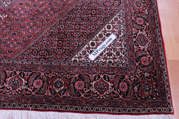8x6 8x6 350 KPSI Bidjar Persian rug, handmade Bidjar carpet with silk.