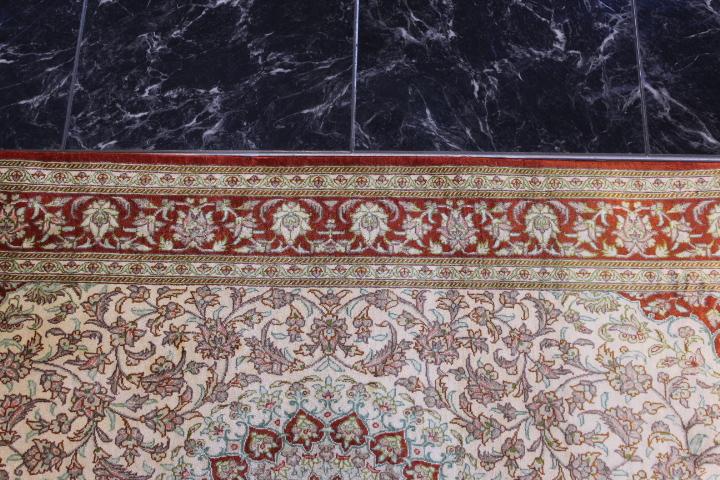 4x2 silk qum Persian rug with 750 kpsi