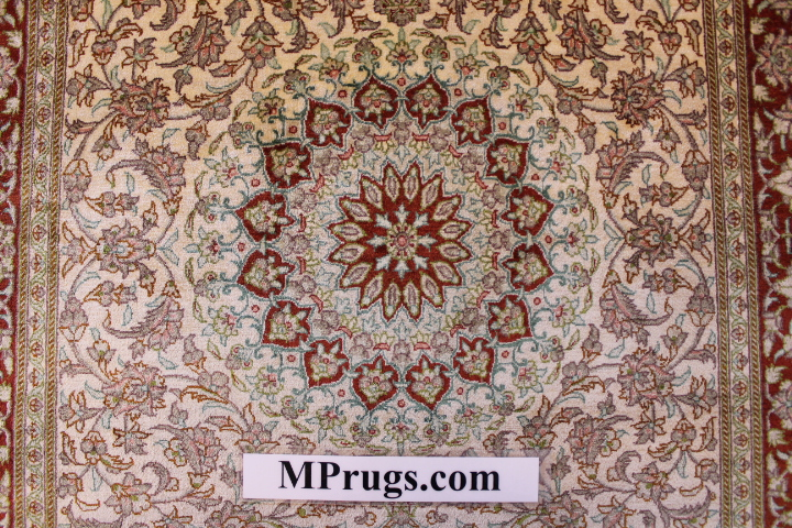 4x2 silk qum Persian rug with 750 kpsi