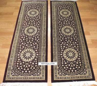 Twin Qum silk Persian rug with signature; masterpiece Qum silk carpet
