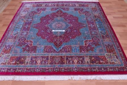 7'x7' pure silk Qum Persian rug with 900 KPSI