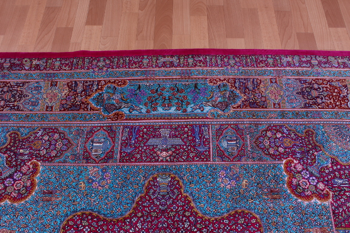 7' 2m square pure silk Qum Persian rug with 900 kpsi
