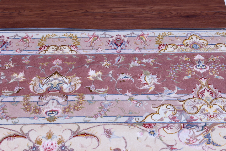 55 Raj Behnami Tabriz Persian rug with a silk foundation. 10x13 silk Behnami Tabriz Persian carpet.