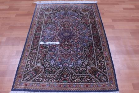 5x3 silk qum Persian rug 900 kpsi, silk artpiece carpet