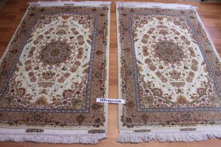 twin 70 raj tabriz silk persian rugs. 600 kpsi tabriz twin carpets