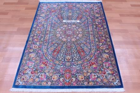 5'x3' pure silk Qum Persian rug with 800 KPSI