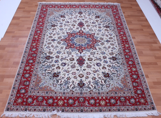 50 Raj silk Tabriz Persian rug with 350 KPSI. 9x6 high quality Tabriz Persian carpet