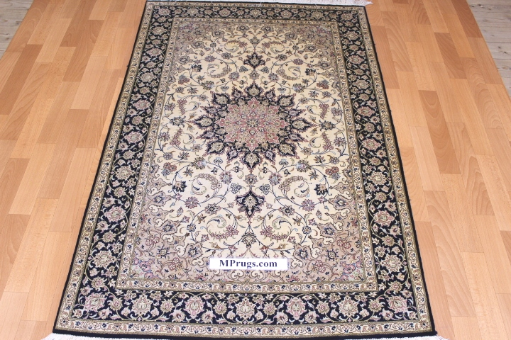 3x5 600kpsi silk qum Persian rug with signature