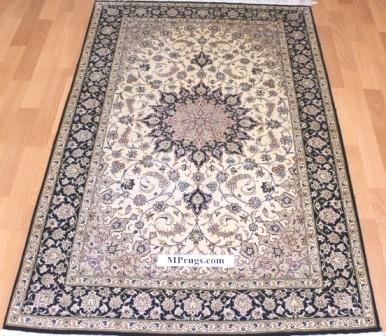 3x5 600kpsi silk qum Persian rug with signature
