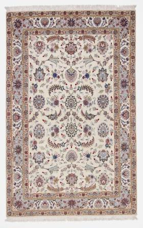 55 Raj Faraji Tabriz Persian rug with a silk foundation. 10x13 silk Faraji Tabriz Persian carpet