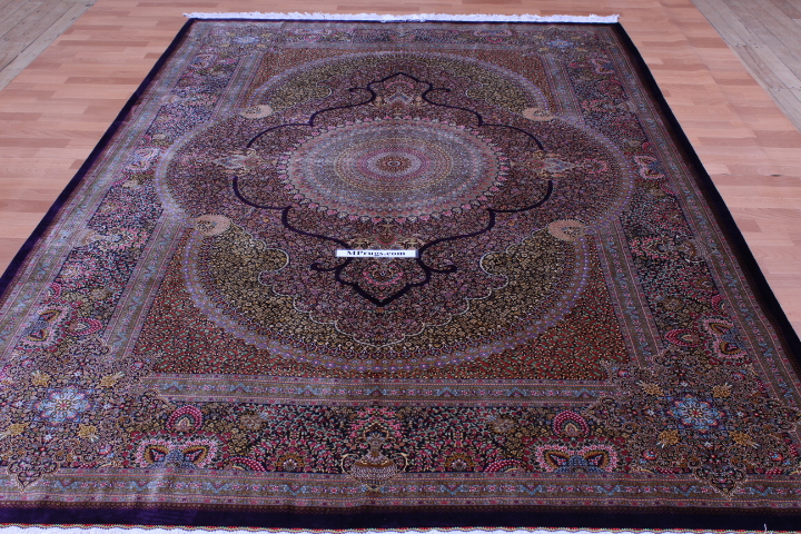 Masterpiece 900 Kpsi pure silk Qum Persian rug with signature