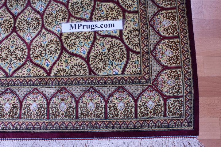 6'x4' 600+kpsi Qum pure silk Gonbad Persian rug