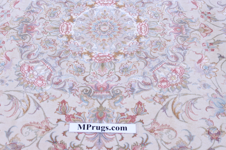 60 Raj Behnami Tabriz Persian rug with a silk foundation. 10x6 silk Behnami Tabriz Persian carpet.