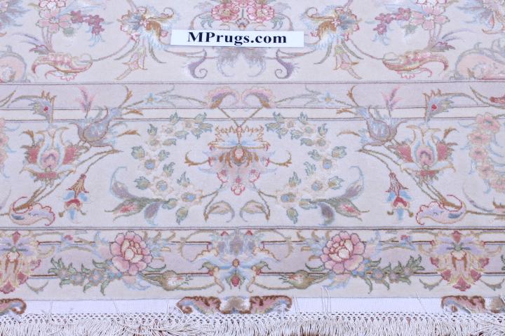 60 Raj Behnami Tabriz Persian rug with a silk foundation. 10x6 silk Behnami Tabriz Persian carpet.