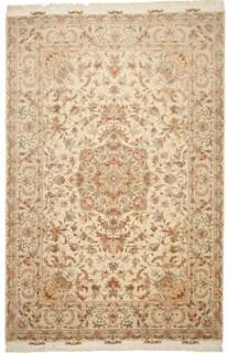 55 Raj Behnami Tabriz Persian rug with a silk foundation. 10x6 silk Behnami Tabriz Persian carpet