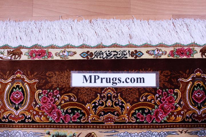 900kpsi silk qum hunting rug pictorial carpet