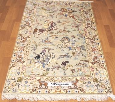 3x5 hunting design silk qum Persian rug with signature