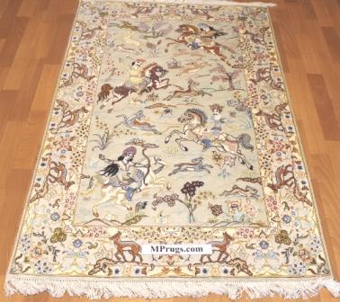 3x5 hunting design silk qum Persian rug with signature