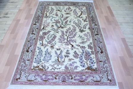Pictorial Tree-of-Life Design Qom silk Persian rugs. Pure Silk Qum Persian carpet with picture design