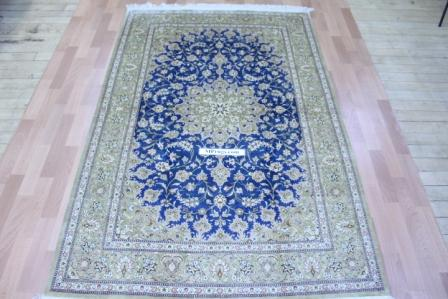 Blue 6x4 qum silk persian rug. 500 kpsi Pure Silk Qom Persian carpet