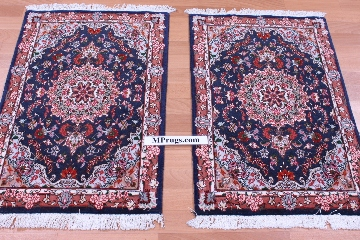 3x2 TWIN Tabriz Persian rug with silk highlights.
