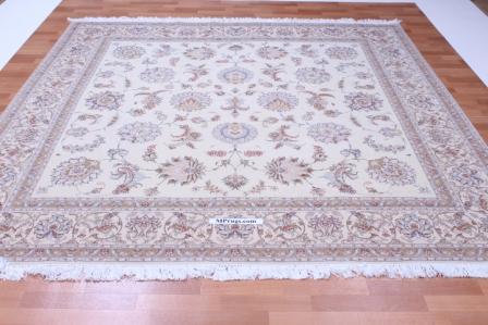 Square Faraji Tabriz Persian rug. Silk Tabriz Persian carpet.