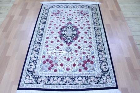 3x5 Qom silk Persian rugs. Pure Silk Qum Persian carpet with the Gombad Dome design.