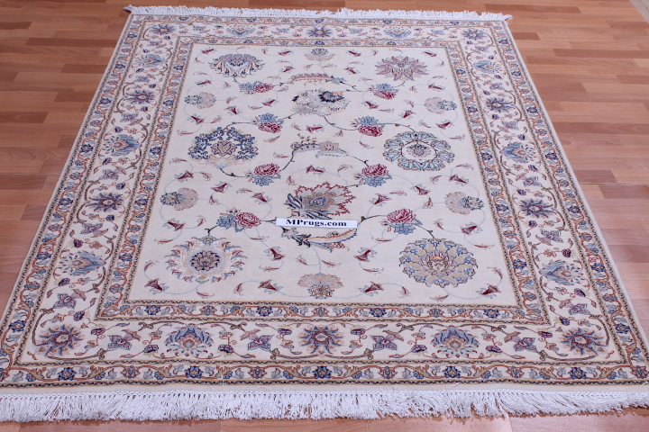 7x5 silk Tabriz Persian rug, 350 KPSI 50 raj handmade Tabriz carpet.
