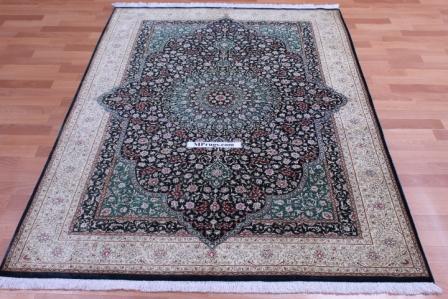 6' by 4' pure silk dark green qum persian carpet, 2m x 1,3m qom silk rug