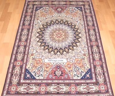 3x5 Gonbad Tabriz Persian rugs. Gombad Tabriz Persian carpets with silk