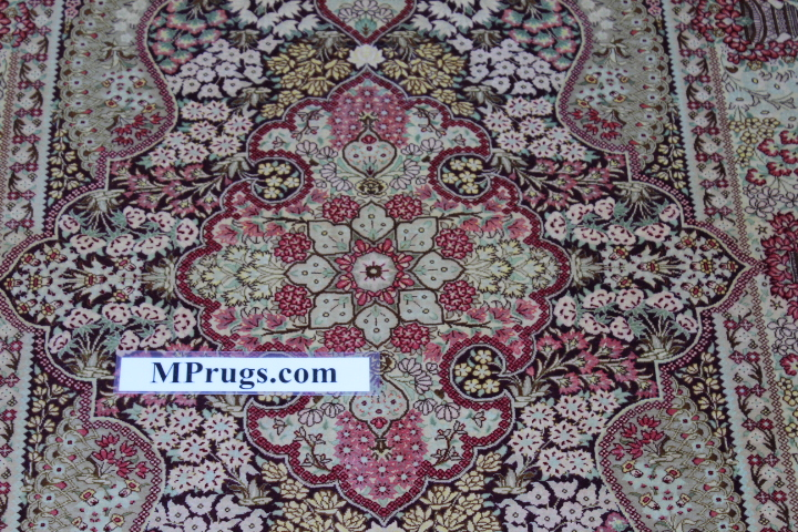 3x5 silk qum Persian rug with signature; Handmade Qum silk carpet