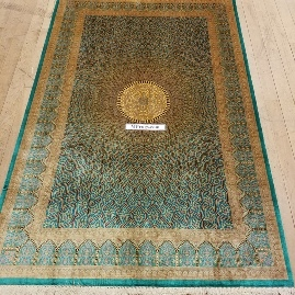 6x4 pure silk Gonbad Qum Persian rugs with 600 KPSI. 2m x 1,40m Gombad Silk Qom Persian carpets signed by the weaver