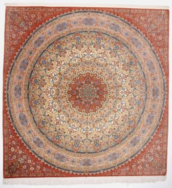 10' large square Qom silk Persian rugs. Square pure Silk Qum Persian carpet with 900 KPSI.