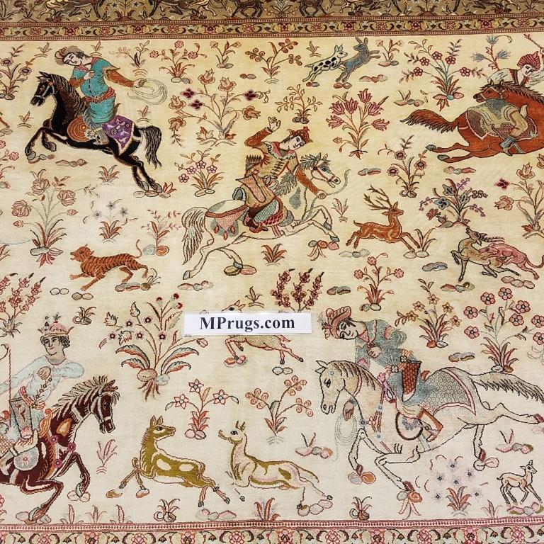 4x6 600 kpsi hunting pictorial qum Persian rug with signature